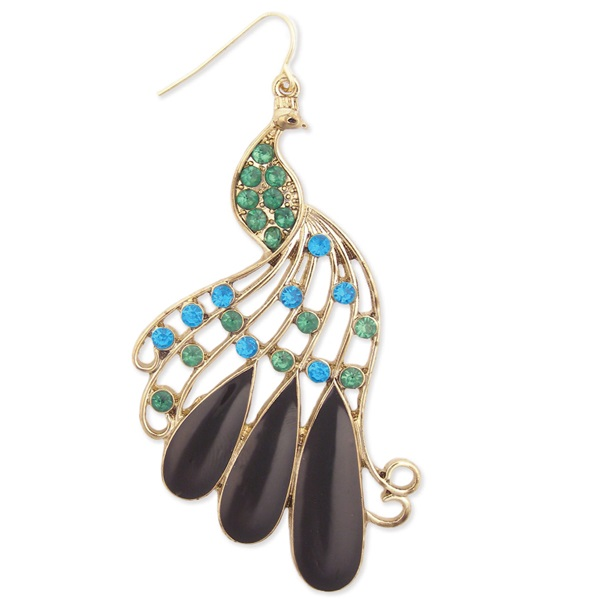 Thumbnail Gold Metal Enamel & Crystal Peacock Earrings